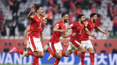DOHA, QATAR - FEBRUARY 11: Players of Al Ahly SC celebrate after winning the penalty shootout during the FIFA Club World Cup Qatar 2020 3rd Place Play off match between Al Ahly and SE Palmeiras at the Education City Stadium on February 11, 2021 in Doha, Qatar. (Photo by David Ramos - FIFA/FIFA via Getty Images)
