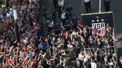 NEW YORK, NEW YORK - JULY 10:  The USA Women's National Soccer Team celebrate during a Victory Ticker Tape Parade down the Canyon of Heroes on July 10, 2019 in the Manhattan borough of New York City. The USA defeated the Netherlands on Sunday to win the 2019 FIFA Women's World Cup France.  (Photo by Michael Heiman/Getty Images)