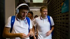 MEDELLIN, COLOMBIA - SEPTEMBER 13: Danil Davydov (L) and Dmitry Lyskov (R) of Russia arrive at the dressing room before the FIFA Futsal World Cup Group B match between Egypt and Russia at Coliseo Ivan de Bedout stadium on September 13, 2016 in Medellin, Colombia.