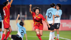 Duan HAN (CHN) celebrating a goal against Argentina, during the 2008 Beijing Olympic Games women's first round group E football match at the Qinghuangdao Olympic Stadium on August 12, 2008