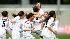 Melisa Rodriguez of Chile celebrates scoring a header during the semi final match between Chile and Turkey in the Girls Youth Olympic Football Tournament at the Jalan Besar Stadium on August 21, 2010 in Singapore, Singapore.