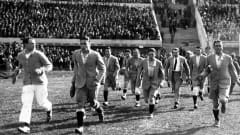 Football, 1930 FIFA World Cup Final, Montevideo, Uruguay, 30th July 1930, Uruguay 4 v Argentina 2, The Argentinian team come out to examine the pitch before the game (Photo by Haynes Archive/Popperfoto/Getty Images)