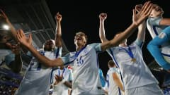 SUWON, SOUTH KOREA - JUNE 11:  Dominic Calvert-Lewin of England (16) celebrates victory with team mates after the FIFA U-20 World Cup Korea Republic 2017 Final between Venezuela and England at Suwon World Cup Stadium on June 11, 2017 in Suwon, South Korea. England defeated Venezuela 1-0.  (Photo by Maddie Meyer - FIFA/FIFA via Getty Images)