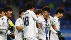 SUITA, JAPAN - DECEMBER 14: Lee Jongho of Jeonbuk Hyundai (2nd R) celebrates with team mates after scoring his sides second goal during the FIFA Club World Cup 5th Place match between Jeonbuk Hyundai and Mamelodi Sundowns at Suita City Football Stadium on December 14, 2016 in Suita, Japan. (Photo by Steve Bardens-FIFA/FIFA via Getty Images)