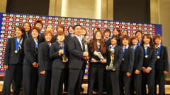 TOKYO, JAPAN - JULY 19: Japan women's football team attend a press conference as the Women's World Cup winners return home, at The Capitol Tokyu Hotel on July 19, 2011 in Tokyo, Japan. (Photo by Koji Watanabe/Getty Images)