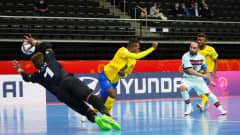 KAUNAS, LITHUANIA - SEPTEMBER 16: Ricardinho of Portugal scores their team's second goal during the FIFA Futsal World Cup 2021 group C match between Solomon Islands and Portugal at Kaunas Arena on September 16, 2021 in Kaunas, Lithuania. (Photo by Angel Martinez - FIFA/FIFA via Getty Images)