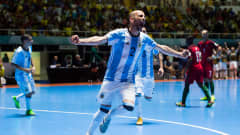 Damian Stazzone of Argentina celebrates after scoring his team's second goal during the FIFA Futsal World Cup Semi-Final match between Argentina and Portugal at the Coliseo El Pueblo stadium on September 28, 2016 in Cali, Colombia.  (Photo by Alex Caparros - FIFA/FIFA via Getty Images)