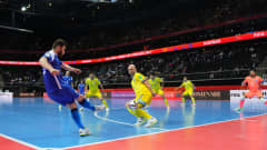 KAUNAS, LITHUANIA - OCTOBER 03: Gadeia of Brazil attempts to cross the ball during the FIFA Futsal World Cup 2021 3rd Place Playoff match between Brazil and Kazakhstan at Kaunas Arena on October 03, 2021 in Kaunas, Lithuania. (Photo by Angel Martinez - FIFA/FIFA via Getty Images)
