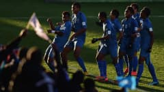 CHRISTCHURCH, NEW ZEALAND - JUNE 04:  Iosefo Verevou of Fiji celebrates his goal during the FIFA U-20 World Cup New Zealand 2015 Group F match between Honduras and Fiji at the Christchurch Stadium on June 4, 2015 in Christchurch, New Zealand.  (Photo by Jamie McDonald - FIFA/FIFA via Getty Images)