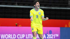 KAUNAS, LITHUANIA - SEPTEMBER 23: Douglas of Kazakhstan celebrates after scoring their team's second goal during the FIFA Futsal World Cup 2021 Round of 16 match between Kazakhstan and Thailand at Kaunas Arena on September 23, 2021 in Kaunas, Lithuania. (Photo by Oliver Hardt - FIFA/FIFA via Getty Images)