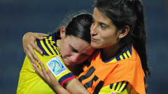 BAKU, AZERBAIJAN - SEPTEMBER 29: Dejection for Dayana Castillo of Colombia during the FIFA U-17 Women's World Cup 2012 Group A match between Colombia and Nigeria at Bayil Stadium on September 29, 2012 in Baku, Azerbaijan. (Photo by Jamie McDonald - FIFA/FIFA via Getty Images)