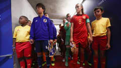 VANNES, FRANCE - AUGUST 24:  Players wait in the tunnel prior to the FIFA U-20 Women's World Cup France 2018 Final match between Spain and Japan at Stade de la Rabine on August 24, 2018 in Vannes, France.  (Photo by Alex Grimm - FIFA/FIFA via Getty Images)