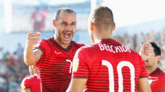 ESPINHO, PORTUGAL - JULY 19:  Madjer of Portugal celebrates scoring his teams first goal of the game during the FIFA Beach Soccer World Cup Final match between Tahiti and Portugal held at Espinho Stadium on July 19, 2015 in Espinho, Portugal.  (Photo by Dean Mouhtaropoulos - FIFA/FIFA via Getty Images)