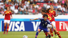 SAN JOSE, COSTA RICA - APRIL 04:  Yui Hasegawa #8 of Japan and Rocio Galvez #5 of Spain battle for the ball during the FIFA U-17 Women's World Cup 2014 final match between Japan and Spain at Estadio Nacional on April 4, 2014 in San Jose, Costa Rica.  (Photo by Martin Rose - FIFA/FIFA via Getty Images)