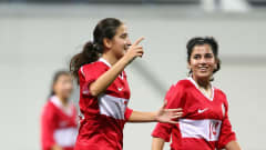 SINGAPORE - AUGUST 24:  Dilan Akarsu of Turkey celebrates scoring a goal during the bronze medal match between Iran and Turkey in the Girls Youth Olympic Football Tournament at the Jalan Besar Stadium on August 24, 2010 in Singapore, Singapore.  (Photo by Julian Finney - FIFA/FIFA via Getty Images)
