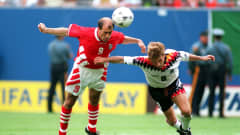 10 JUL 1994: TRIFON IVANOV #3 OF BULGARIA BATTLES WITH RUDY VOLLER #13 OF GERMANY FOR THE BALL DURING BULGARIA'S 2-1 VICTORY OVER GERMANY IN THE QUARTER FINALS OF THE 1994 WORLD CUP AT GIANTS STADIUM IN THE MEADOWLANDS, NEW JERSEY