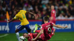 AUCKLAND, NEW ZEALAND - JUNE 20:  Stanisa Mandic of Serbia scores his goal during the FIFA U-20 World Cup Final match between Brazil and Serbia at North Harbour Stadium on June 20, 2015 in Auckland, New Zealand.  (Photo by Jamie McDonald - FIFA/FIFA via Getty Images)