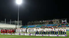 SINGAPORE - AUGUST 24: (L-R) Equatorial Guinea (Silver), Chile (Gold) and Turkey (Bronze) teams stand on the podiums after the gold medal match between Chile and Equatorial Guinea in the Girls Youth Olympic Football Tournament at the Jalan Besar Stadium on August 24, 2010 in Singapore, Singapore. (Photo by Julian Finney - FIFA/FIFA via Getty Images)