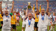 LYON, FRANCE - JULY 07:  Megan Rapinoe of the USA celebrates with the FIFA Women's World Cup Trophy following her team's victory in the 2019 FIFA Women's World Cup France Final match between The United States of America and The Netherlands at Stade de Lyon on July 07, 2019 in Lyon, France. (Photo by Richard Heathcote/Getty Images)