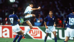 1990 World Cup Semi Final, Naples, Italy, 3rd July, 1990, Argentina 1 v Italy 1 (Argentina win 3-2 on penalties), Argentina's Jorge Burruchaga battles for the ball with Italy's Roberto Donadoni (Photo by Bob Thomas/Getty Images)