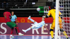 KAUNAS, LITHUANIA - OCTOBER 03: Maximiliano Rescia of Argentina has a shot on goal during the FIFA Futsal World Cup 2021 Final match between Argentina and Portugal at Kaunas Arena on October 03, 2021 in Kaunas, Lithuania. (Photo by Angel Martinez - FIFA/FIFA via Getty Images)