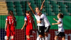 EDMONTON, AB - AUGUST 05:  Lena Petermann of the Germany celebrates scoring a goal past goalkeeper Katelyn Rowland of the United States with Pauline Bremer and Theresa Panfil (right) in the second half at Commonwealth Stadium on August 5, 2014 in Edmonton, Canada.  (Photo by Kevin C. Cox - FIFA/FIFA via Getty Images)