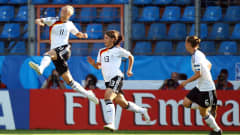 Alexandra Popp (L) of Germany celebrates after scoring the opening goal during the FIFA U20 Women's World Cup Quarter Final match between Germany and North Korea at the FIFA U-20 Women's World Cup stadium on July 24, 2010 in Bochum, Germany. (Photo by Martin Rose - FIFA/FIFA via Getty Images)
