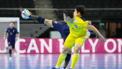 KAUNAS, LITHUANIA - SEPTEMBER 23: Kritsada Wongkaeo of Thailand battles for possession with Akbalikov of Kazakhstan during the FIFA Futsal World Cup 2021 Round of 16 match between Kazakhstan and Thailand at Kaunas Arena on September 23, 2021 in Kaunas, Lithuania. (Photo by Angel Martinez - FIFA/FIFA via Getty Images)