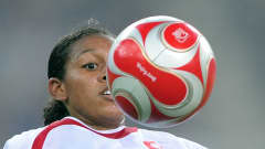 Candace CHAPMAN (CAN) controlling the ball during the match against China (Group E) at the Tianjin Olympic Sports Center Stadium, on9 August 2008.
