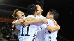 KLAIPEDA, LITHUANIA - SEPTEMBER 17: Shota Hoshi of Japan celebrates with teammates after scoring their side's first goal during the FIFA Futsal World Cup 2021 group E match between Spain and Japan at Klaipeda Arena on September 17, 2021 in Klaipeda, Lithuania. (Photo by Tullio Puglia - FIFA/FIFA via Getty Images)