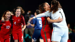 BUENOS AIRES, ARGENTINA - OCTOBER 17: Team members of Portugal celebrate their opening goal in the Women's Futsal Final match between Portugal and Japan during the Buenos Aires Youth Olympics 2018 at Tecnopolis on October 17, 2018 in Buenos Aires, Argentina.  (Photo by Martin Rose - FIFA/FIFA via Getty Images)