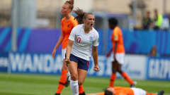 VANNES, FRANCE - AUGUST 17: Georgia Stanway of England celebrates after scoring her sides first goal during the FIFA U-20 Women's  World Cup France 2018 Quarter Final quarter final match between England and Netherlands at Stade de la Rabine on August 17, 2018 in Vannes, France. (Photo by Catherine Ivill - FIFA/FIFA via Getty Images)