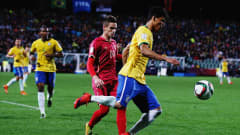 AUCKLAND, NEW ZEALAND - JUNE 20: Danilo of Brazil makes a break during the FIFA U-20 World Cup Final match between Brazil and Serbia at North Harbour Stadium on June 20, 2015 in Auckland, New Zealand.  (Photo by Hannah Peters/Getty Images)
