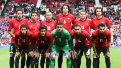 MANCHESTER, ENGLAND - JULY 29: The team of Egypt is pictured prior to the Men's Football first round Group C Match between Egypt and New Zealand on Day 2 of the London 2012 Olympic Games at Old Trafford on July 29, 2012 in Manchester, England.  (Photo by Joern Pollex - FIFA/FIFA via Getty Images)
