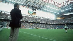 West Germany coach Franz Beckenbauer watches the game against Yugoslavia at Italy 1990