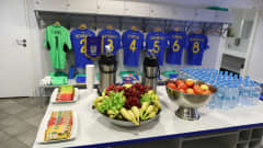 GDYNIA, POLAND - JUNE 11: A general view inside the Ukraine dressing room ahead of the 2019 FIFA U-20 World Cup Semi Final match between Ukraine and Italy at Gdynia Stadium on June 11, 2019 in Gdynia, Poland. (Photo by Lars Baron - FIFA/FIFA via Getty Images)
