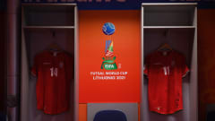 VILNIUS, LITHUANIA - SEPTEMBER 24: A general view of the Iran dressing room ahead the FIFA Futsal World Cup 2021 Round of 16 match between Uzbekistan and Iran at Vilnius Arena on September 24, 2021 in Vilnius, Lithuania. (Photo by Alex Caparros - FIFA/FIFA via Getty Images)