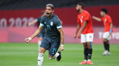 SAPPORO, JAPAN - JULY 25: Jose Pinto #14 of Team Honduras celebrates after scoring their side's first goal during the Men's First Round Group C match between Egypt and Argentina on day two of the Tokyo 2020 Olympic Games at Sapporo Dome on July 25, 2021 in Sapporo, Hokkaido, Japan. (Photo by Masashi Hara/Getty Images)