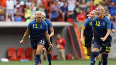 BRASILIA, BRAZIL - AUGUST 12: Stina Blackstenius #11 and Olivia Schough #12 of Sweden celebrates their 1-1 (4-3 PSO) win over team United States during the Women's Football Quarterfinal match at Mane Garrincha Stadium on Day 7 of the Rio 2016 Olympic Games on August 12, 2016 in Brasilia, Brazil. (Photo by Celso Junior/Getty Images)