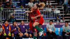 BUENOS AIRES, ARGENTINA - OCTOBER 17:  Fifo #9 of Portugal celebrates scoring the second goal against Japan with Carol #5 in the Women's Futsal Final match between Portugal and Japan during the Buenos Aires Youth Olympics 2018 at Tecn—polis on October 17, 2018 in Buenos Aires, Argentina.  (Photo by Kevin C. Cox - FIFA/FIFA via Getty Images)