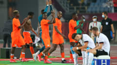 RIFU, MIYAGI, JAPAN - JULY 28: Players of Team Ivory Coast celebrate following the Men's Group D match between Germany and Cote d'Ivoire on day five of the Tokyo 2020 Olympic Games at Miyagi Stadium on July 28, 2021 in Rifu, Miyagi, Japan. (Photo by Alex Livesey - FIFA/FIFA via Getty Images)
