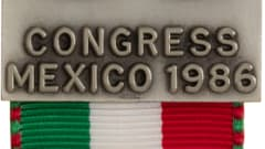 A pin from the 1986 FIFA Congress, held in Mexico, housed at the FIFA World Football Museum