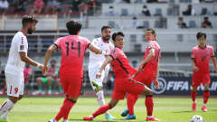 GOYANG, SOUTH KOREA - JUNE 13: Hassan Saad of Lebanon scores his team's first goal during the FIFA World Cup Asian Qualifier 2nd round Group H match between South Korea and Lebanon at Goyang Stadium on June 13, 2021 in Goyang, South Korea. (Photo by Chung Sung-Jun/Getty Images)
