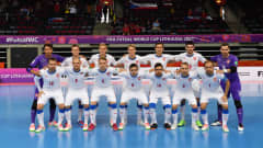 KLAIPEDA, LITHUANIA - SEPTEMBER 13: The Czech Republic team line up for a photo prior to the FIFA Futsal World Cup 2021 group D match between Panama and Czech Republic at Klaipeda Arena on September 13, 2021 in Klaipeda, Lithuania. (Photo by Chris Ricco - FIFA/FIFA via Getty Images)
