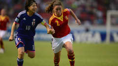 Hina Sugita of Japan battles with Nuria Garrote of Spain during the FIFA U-17 Women's World Cup Final between Japan and Spain at Estadio Nacional on April 4, 2014 in San Jose, Costa Rica.  (Photo by Jamie McDonald - FIFA/FIFA via Getty Images)