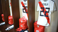 ABU DHABI, UNITED ARAB EMIRATES - DECEMBER 22:  A general view inside the River Plate changing room prior to the FIFA Club World Cup UAE 2018 3rd Place match between River Plate and Kashima Antler at the Zayed Sports City Stadium on December 22, 2018 in Abu Dhabi, United Arab Emirates.  (Photo by David Ramos - FIFA/FIFA via Getty Images)
