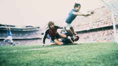 Italy players celebrate Paolo Rossi scoring the opening goal against West Germany in the 1982 FIFA World Cup Spain™ Final. The goal saw Rossi finish one ahead of Karl-Heinz Rummenigge in the race for the adidas Golden Boot.