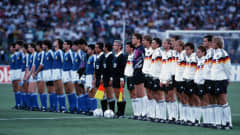 Argentina and West Germany line up before the 1990 FIFA World Cup final