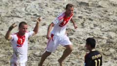 RAVENNA, ITALY - SEPTEMBER 08:  Egor Shaykov (#9) of Russia celebrates scoring a goal during the FIFA Beach Soccer World Cup Quarter Final match between Russia and Mexico at Stadium del Mare on September 8, 2011 in Ravenna, Italy.  (Photo by Dean Mouhtaropoulos - FIFA/FIFA via Getty Images)