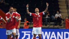VILNIUS, LITHUANIA - SEPTEMBER 12: Ruslan Kudziev of Football Union of Russia (RFU) celebrates scoring his teams first goal during the FIFA Futsal World Cup 2021 group B match between Football Union Of Russia and Egypt at Vilnius Arena on September 12, 2021 in Vilnius, Lithuania.  (Photo by Alex Caparros - FIFA/FIFA via Getty Images)